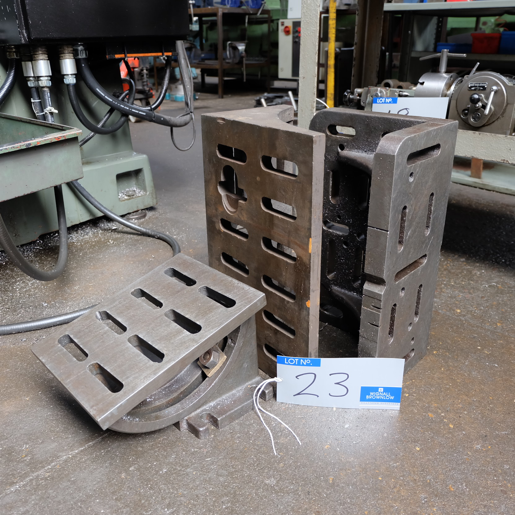 Lot 23 - 2 Cast Iron Angle Plates: 18in x 8in x 11in, 18in x 8in x 12in with Swivel Angle Plate, 12in x 9in x