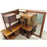 An Old Charm nest of three oak tables, one other nest of tables,