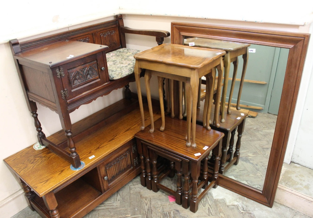 Lot 1044 - An Old Charm nest of three oak tables, one other nest of tables,