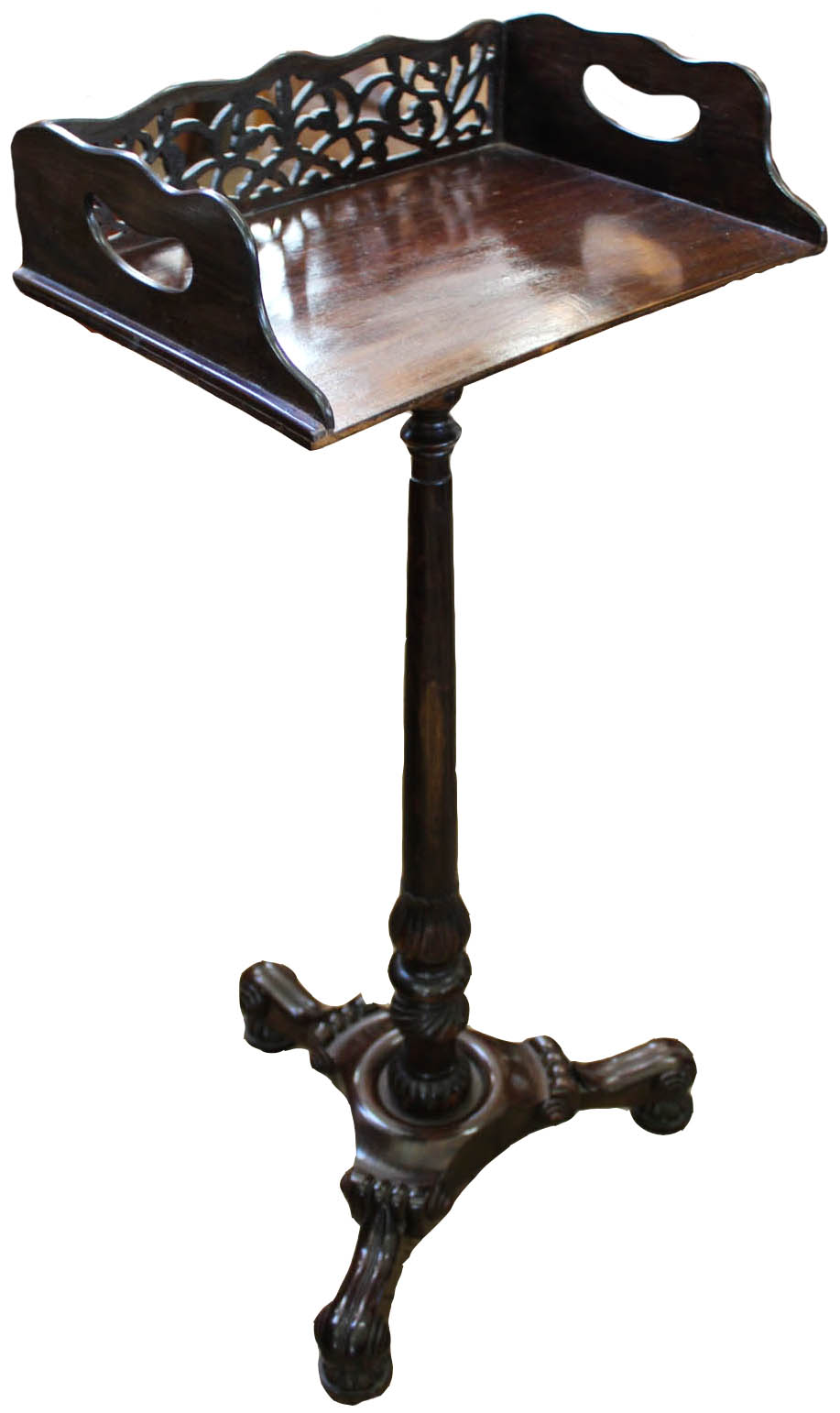 Lot 1057 - A 19th Century carved rosewood bookstand with pierced and galleried upstand