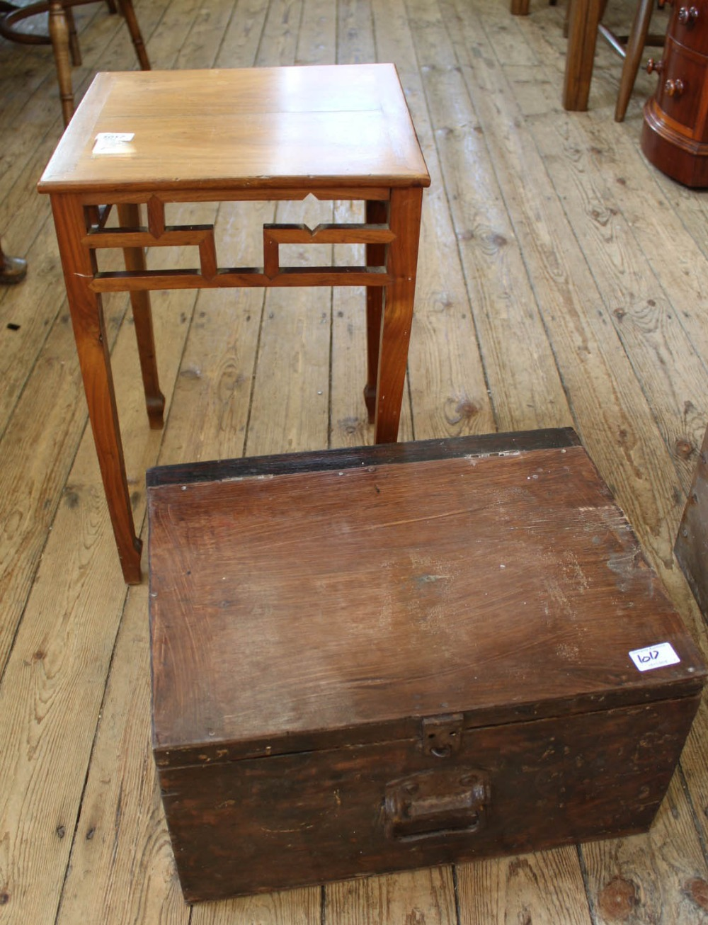 Lot 1017 - A vintage pine tool box and an Oriental style mahogany side table
