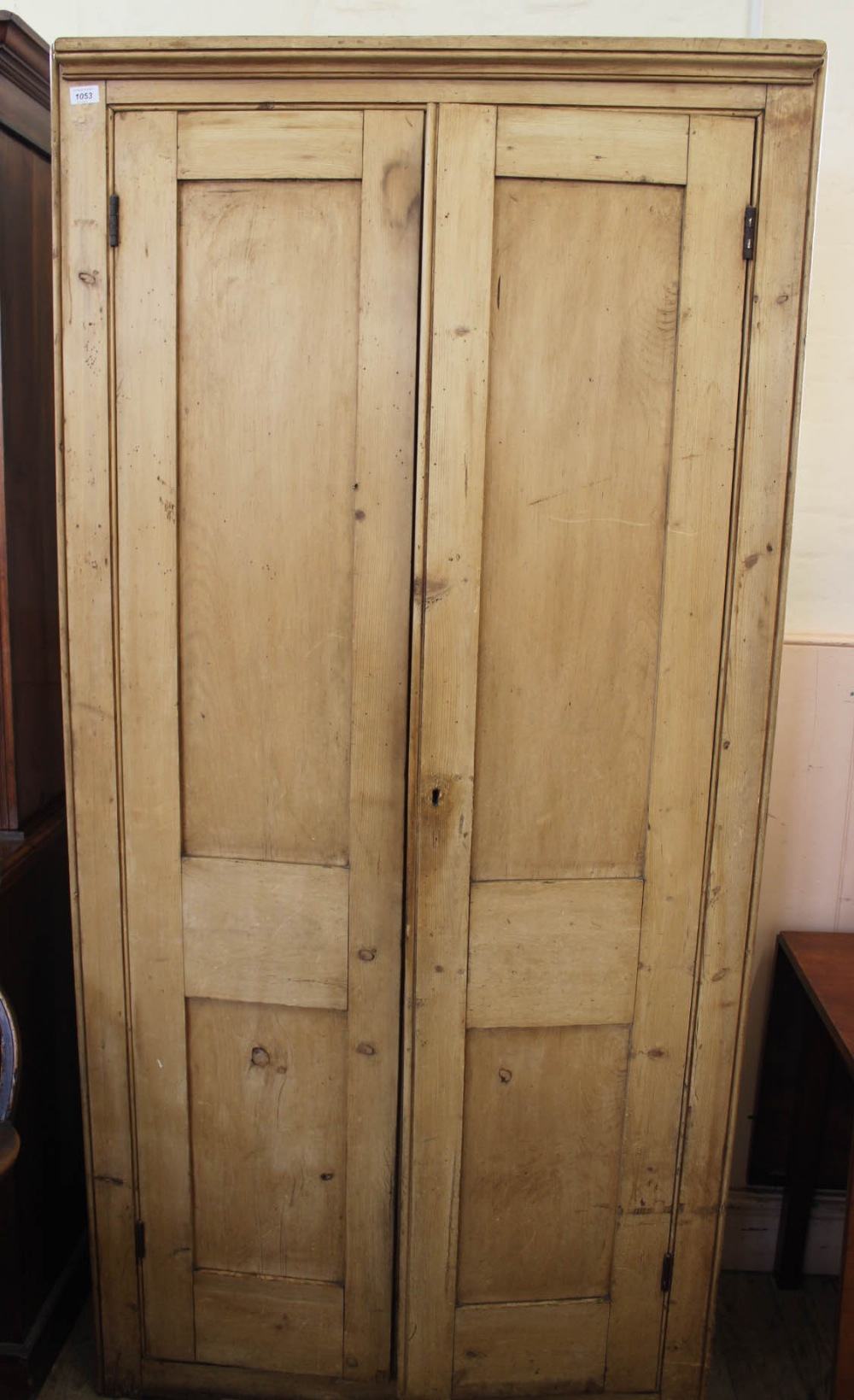 Lot 1053 - A 19th Century two door pine cupboard with shelved interior
