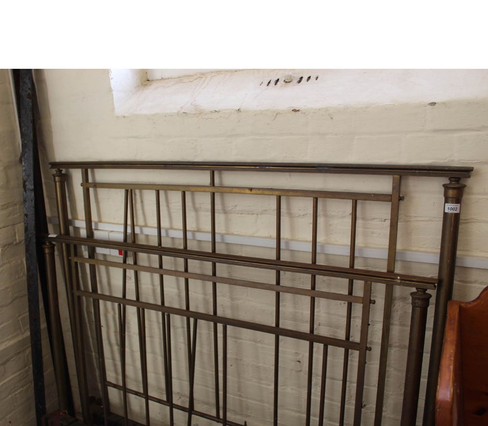 Lot 1002 - A brass and iron double bed frame