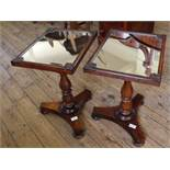 A pair of unusual 19th Century mahogany mirror top occasional tables,