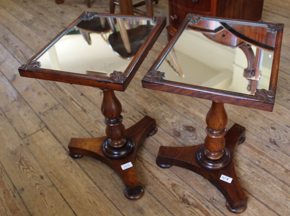 Lot 1018 - A pair of unusual 19th Century mahogany mirror top occasional tables,