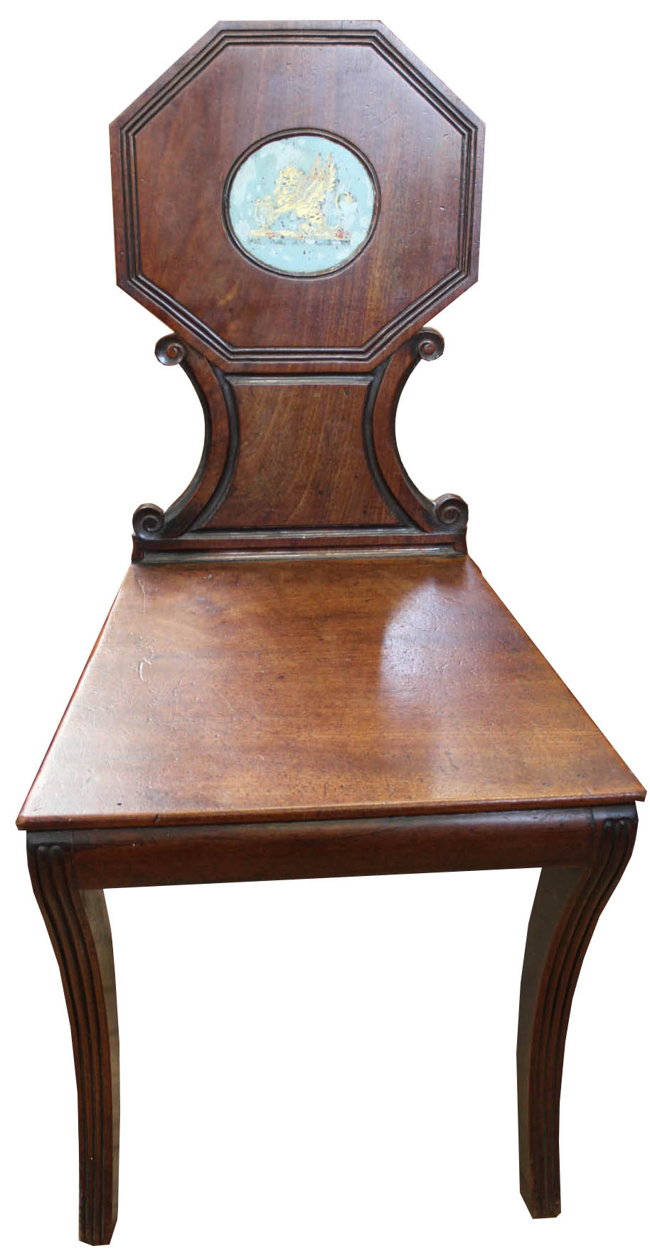 Lot 1058 - A Regency mahogany sabre leg hall chair with painted crest to back