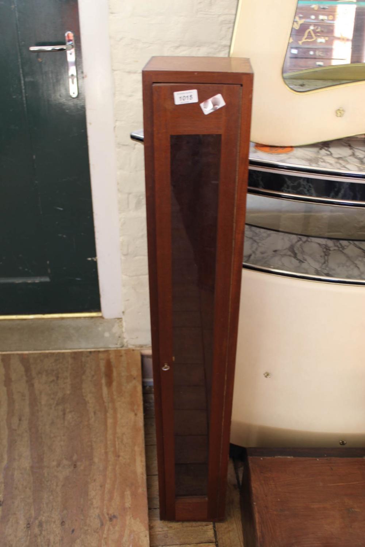 Lot 1015 - A modern narrow mahogany wall hanging display case
