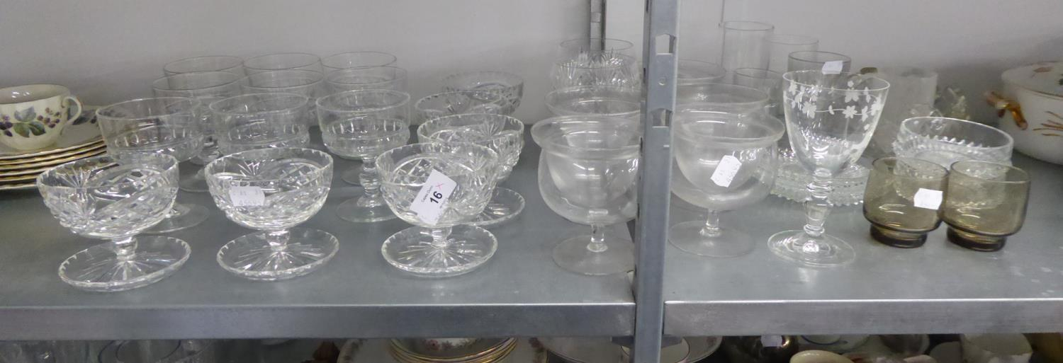 Lot 16 - QUANTITY OF GLASSWARES TO INCLUDE; SUNDAE DISHES, DRINKING GLASSES ETC....