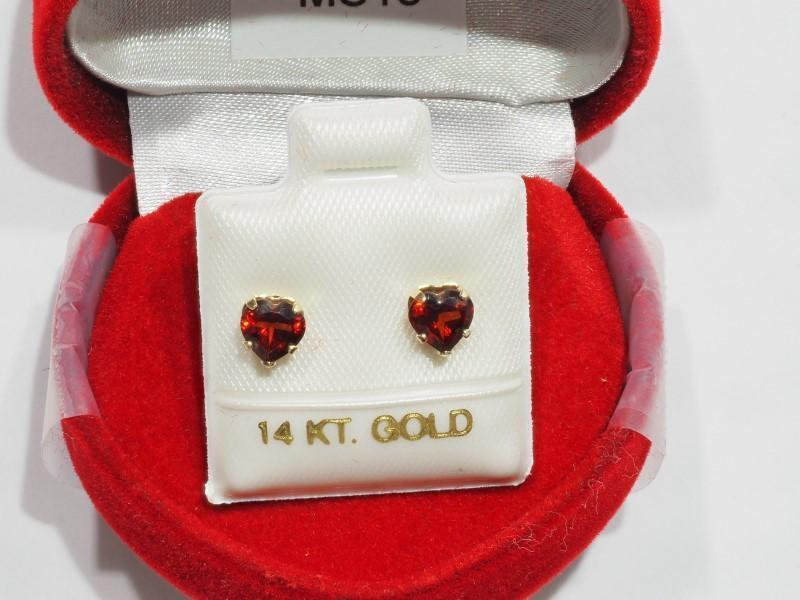 Lot 42 - 10K Gold Heart Shaped Garnet Earrings, Retail $240 (MS19 - 42)