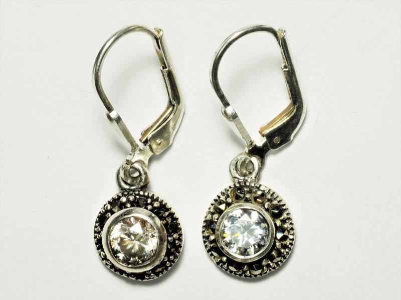 Lot 22 - Cubic Zirconia Marcasite Lever Back Earrings, Retail $150 (MS19 - 22)
