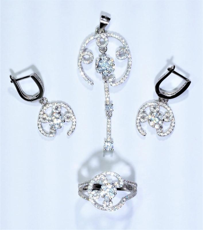 Lot 41 - Sterling Silver Cubic Zirconia Ring, Earrings & Pendant Set (App 12Grms), Retail $400 (MS19 - 41)