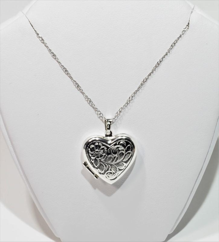 Lot 3 - Sterling Silver Necklace With Heart Shaped Locket Pendant, Retail $125 (MS19 - 3)