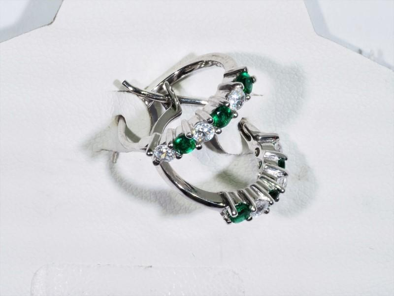 Lot 10 - Sterling Silver Created Emerald Hoop Style Earrings, Retail $100 (MS19 - 10)