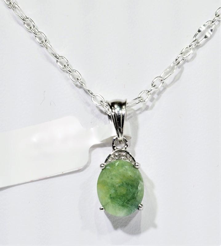 Lot 31 - Sterling Silver Emerald(May Birthstone) Diamond(April Birthstone) Pendant, Retail $150 (MS19 - 31)