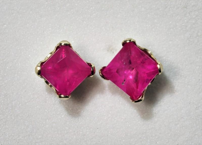 Lot 14 - 14K Gold Ruby(0.37ct) (July Birthstone) Earrings, Retail $300 (MS19 - 14)