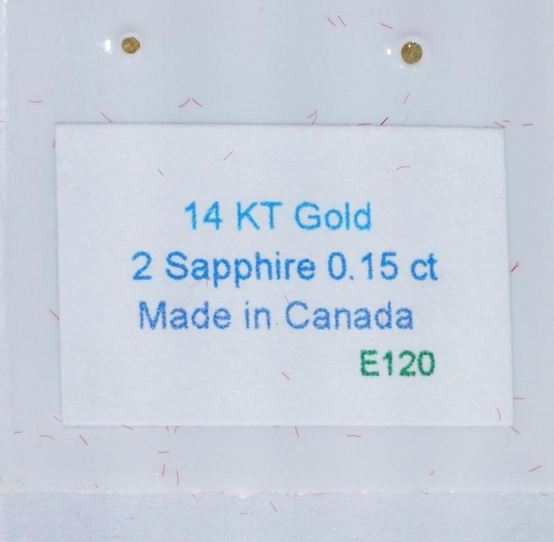Lot 11 - 14K Gold Sapphire(0.15c) Earrings (Made In Canada), Retail $300 (MS19 - 11