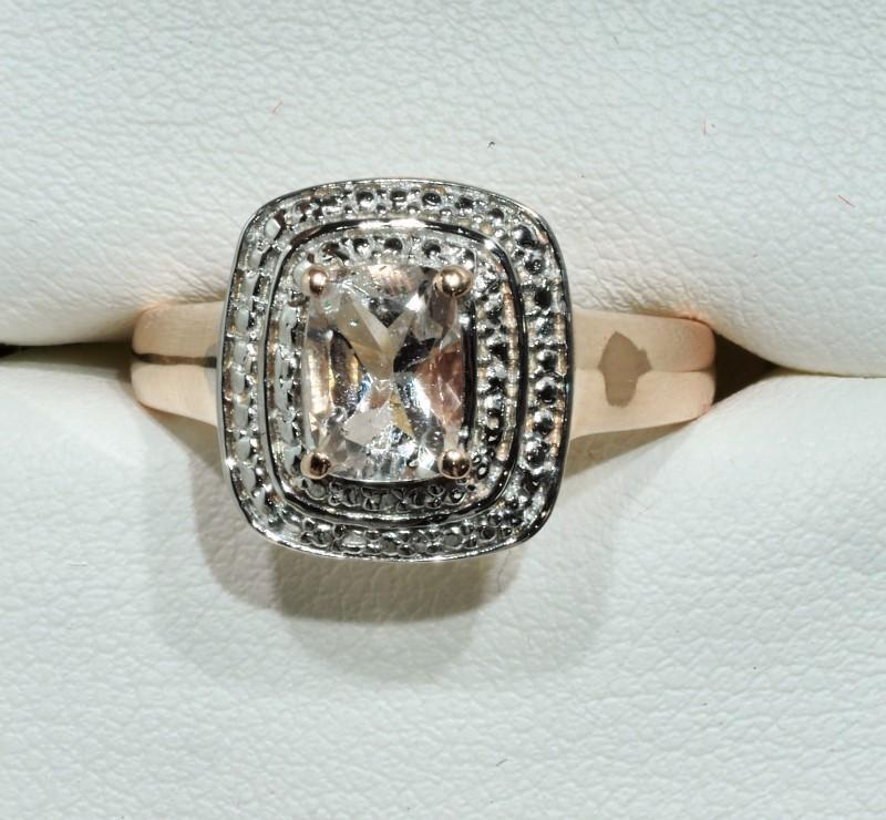 Lot 43 - Rose Gold Plated Ring With Genuine Morganite (App 1.2ct), Retail $350 (MS19 - 43)