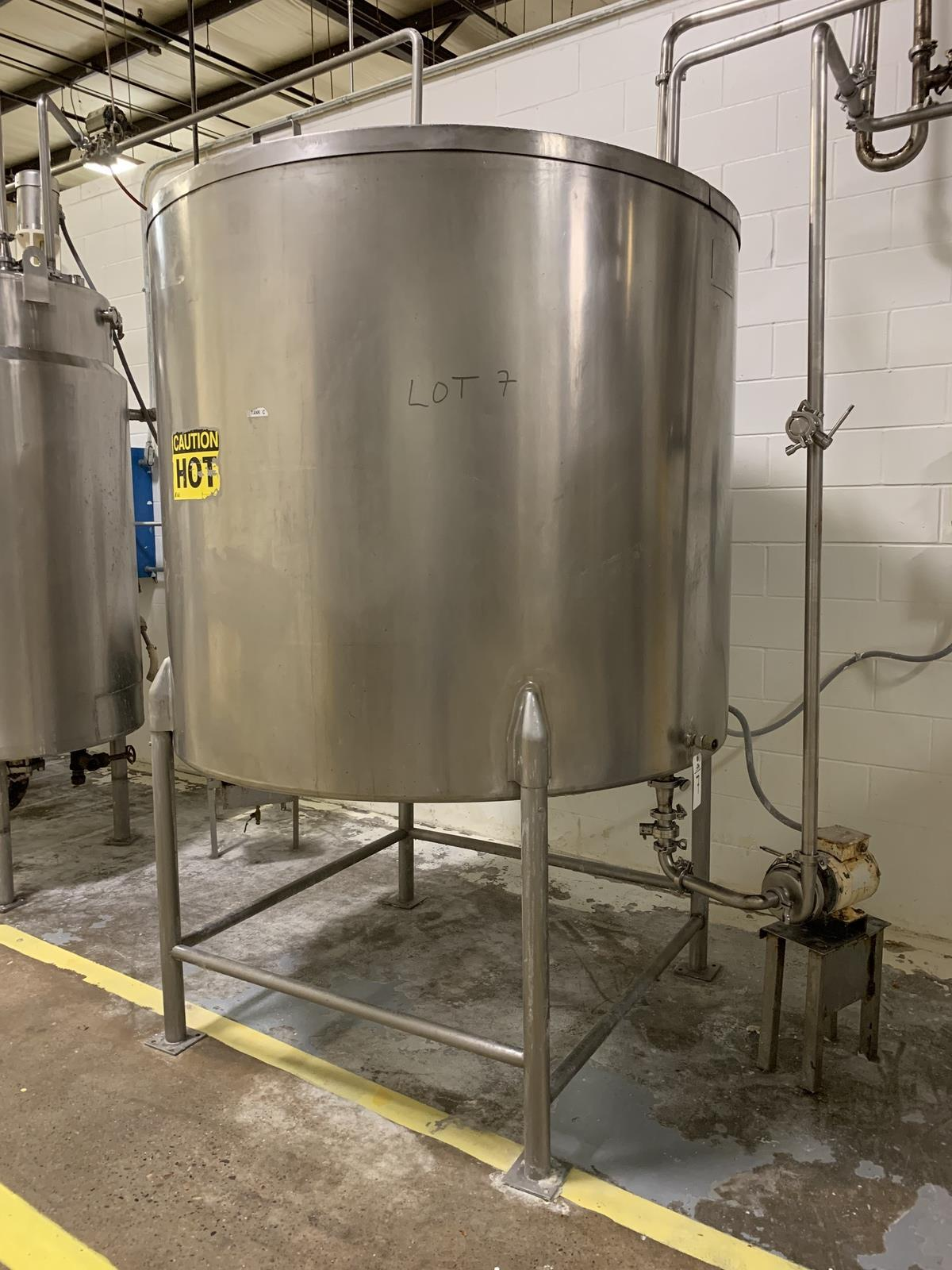 Lot 7 - 650 Gallon Stainless Steel Vertical Jacketed Storage Tank with Centrifugal Pump, 50 | Rig Fee: 350