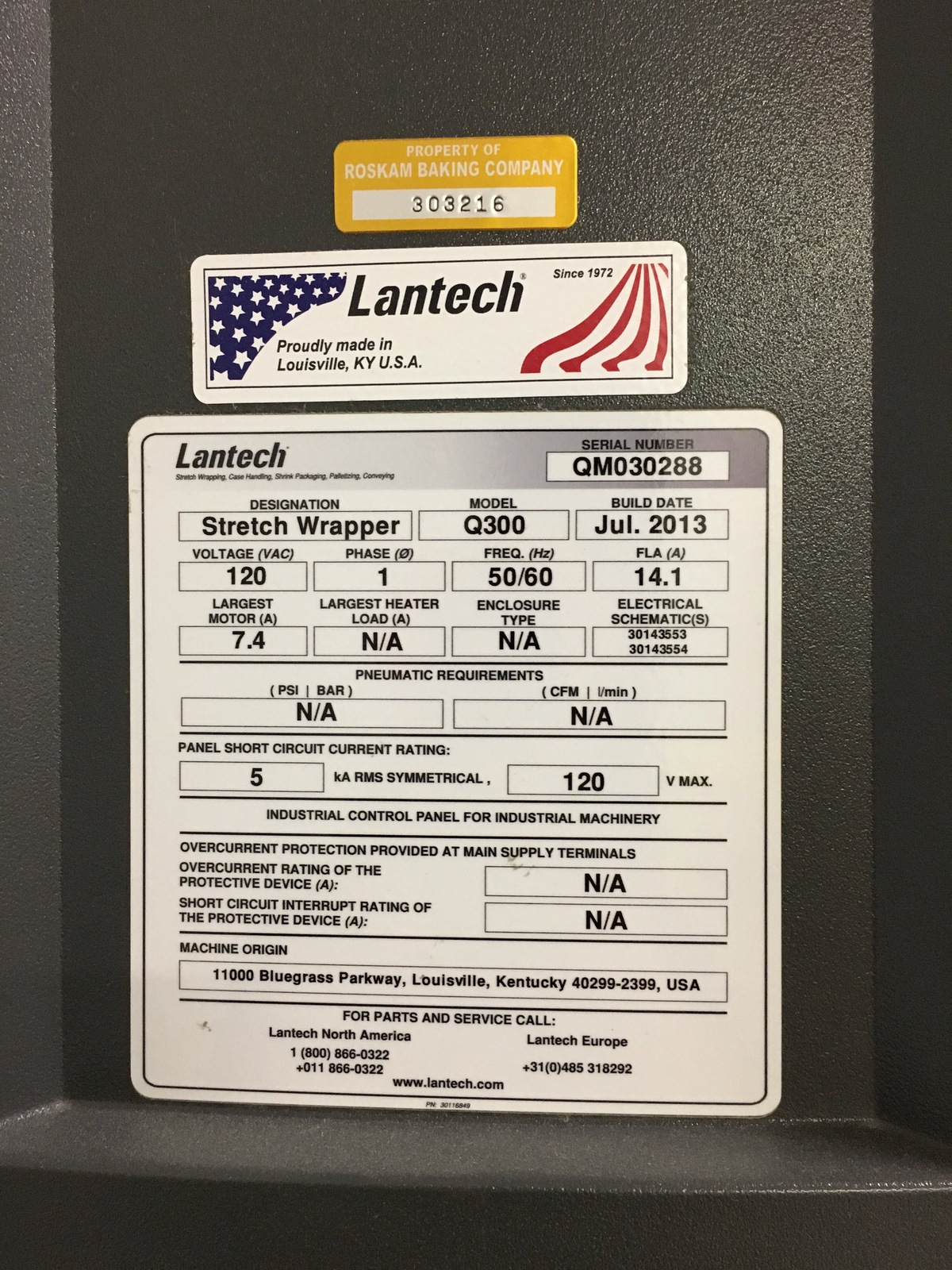 Lot 1W - 2013 Lantech Q300 Stretch Wrapper, 65in Turntable, 10ft Overall Height | Insp by Appt | Rig Fee: 400