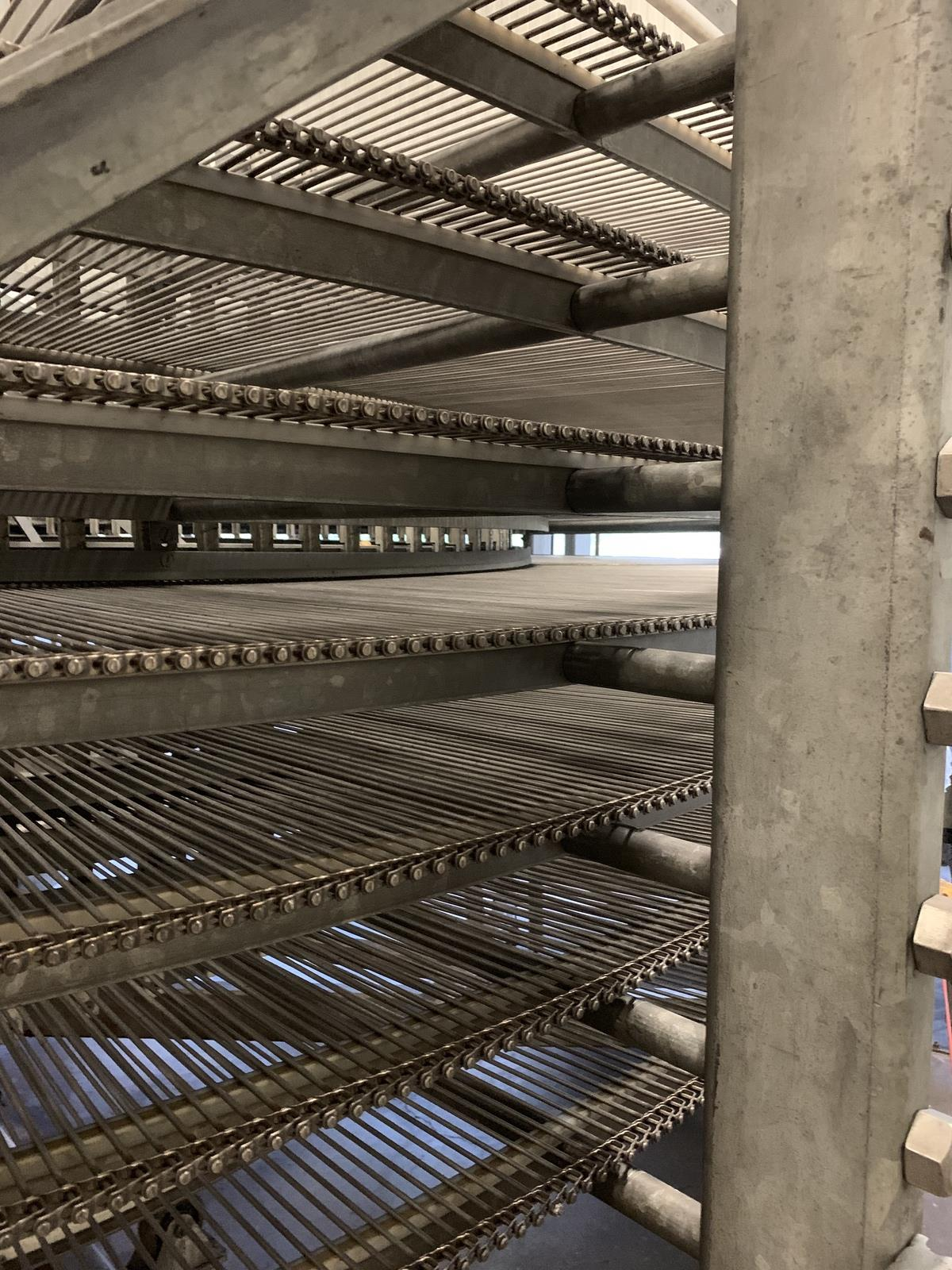 """Lot 26 - Ambient Spiral Cooler, 34"""" Belt Width, 3-5/8in Tier Clearance, 7-Tier, 18' OD, 9' O 