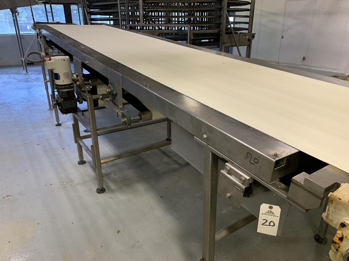 "Lot 20 - Stainless Steel Frame Sanitary Belt Conveyor, 40"" Belt x 203"" Length, 66"" Discharge | Rig Fee: 350"