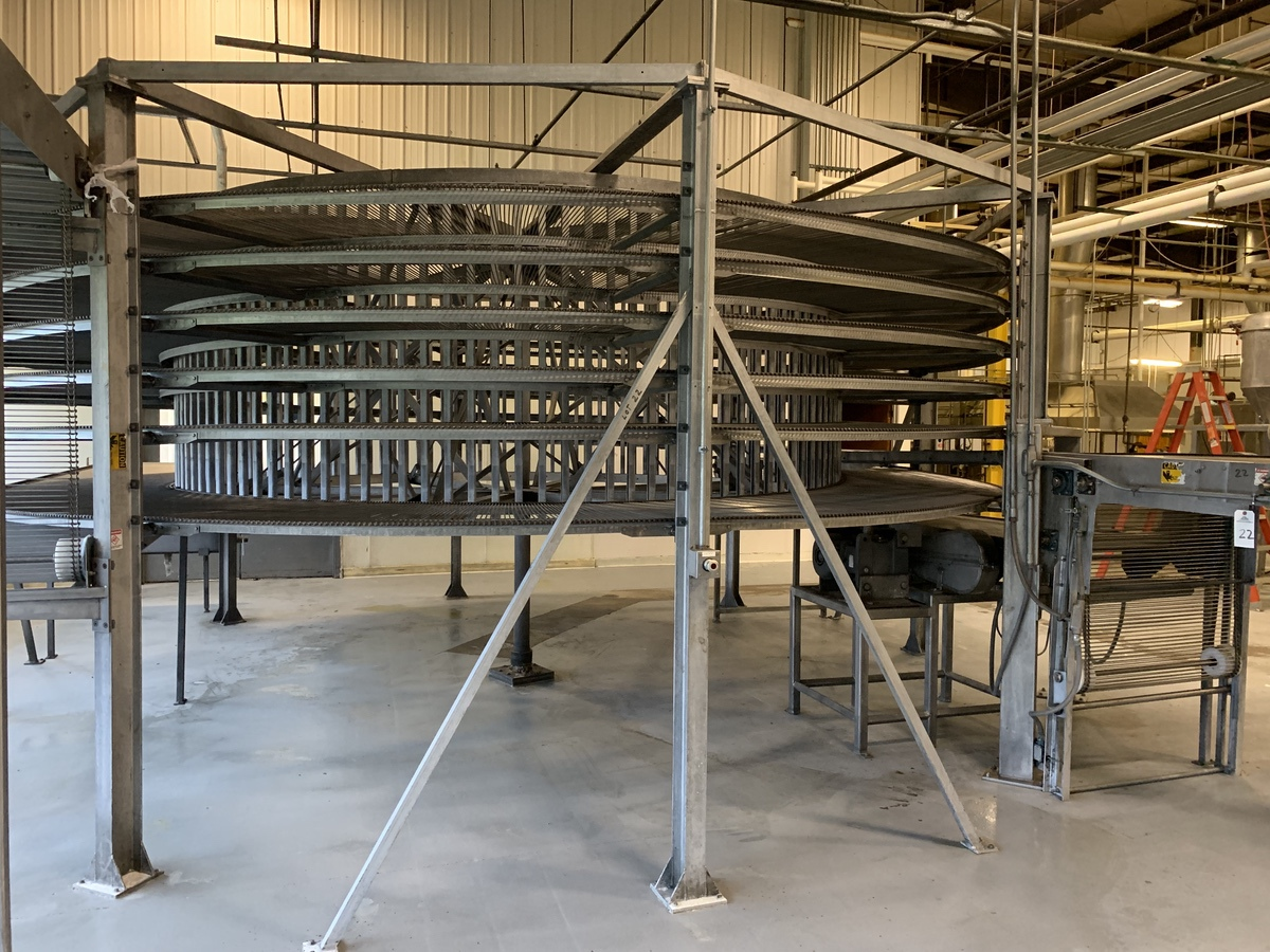 """Lot 22 - Stainless Steel Ambient Spiral Cooler, 6-Tier, 36"""" Belt Width, 5"""" Tier Clearance, 3.   Rig Fee: 4000"""