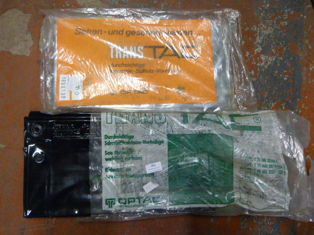 Lot 411 - One Clear and One Black Plastic Tarpaulins