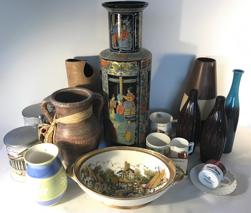 Lot 55 - A large quantity of mainly modern ceramics to include German steins, Chinese vase etc.