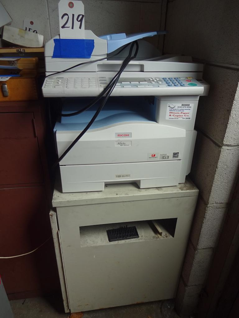Lot 219 - Ricoh Model Aficio MP 201SPF Multi-Function Printer