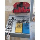 R8 Collets (19), Mill Clamps, Endmills and Drills w/ Rack