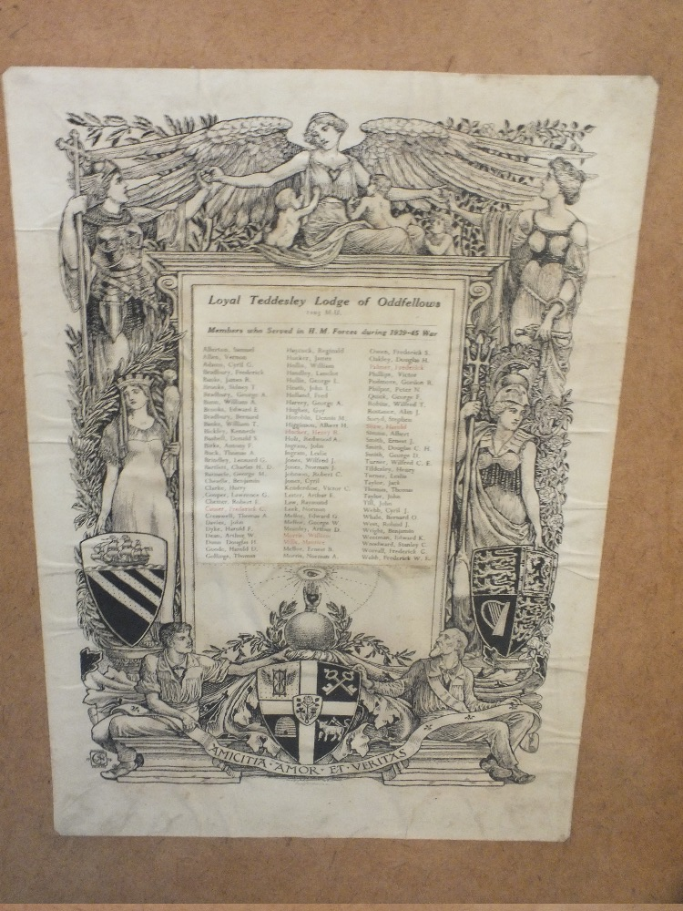 Lot 1085 - LOCAL INTEREST - A ROLL OF HONOUR OF THE MEMBERS OF THE ODDFELLOWS ROYAL TEDDESLEY LODGE WHO