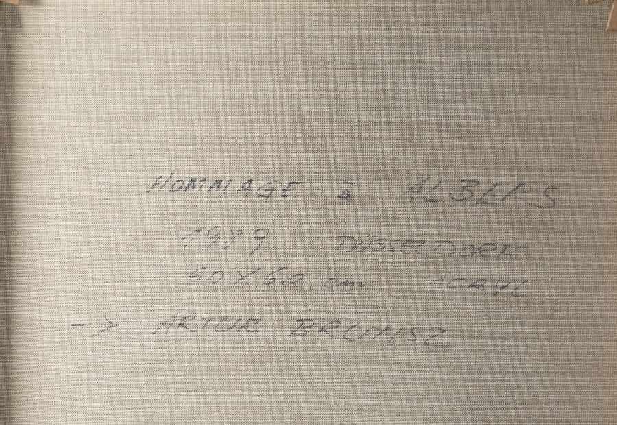Artur Brunsz1929 WarschauHommage a AlbersAcrylic on canvas; H 60 cm, W 60 cm; verso signed, - Bild 2 aus 2