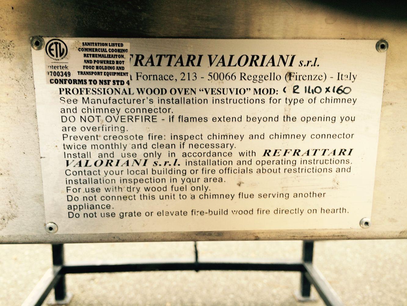 "Lot 135 - Italian ""Vesuvio"" Professional Wood Oven 6'x6 FOB Kelowna Contact Jerry For Details 604-808-5900"