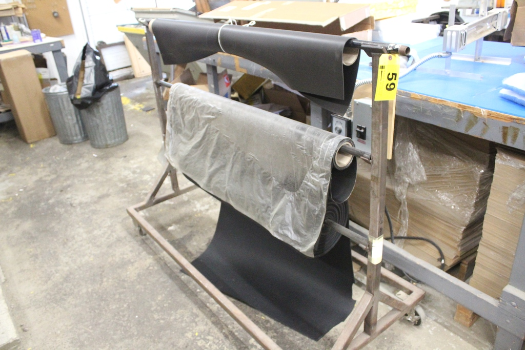Lot 59 - PORTABLE MATERIAL CART WITH (3) ROLLS OF ASSORTED FOAM / RUBBER MATERIAL