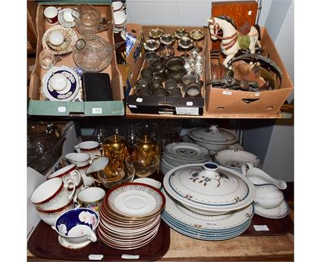 Royal Doulton 'Old Colony' part dinner service including two tureens and covers, a sauce boat, an oval platter, six bowls and