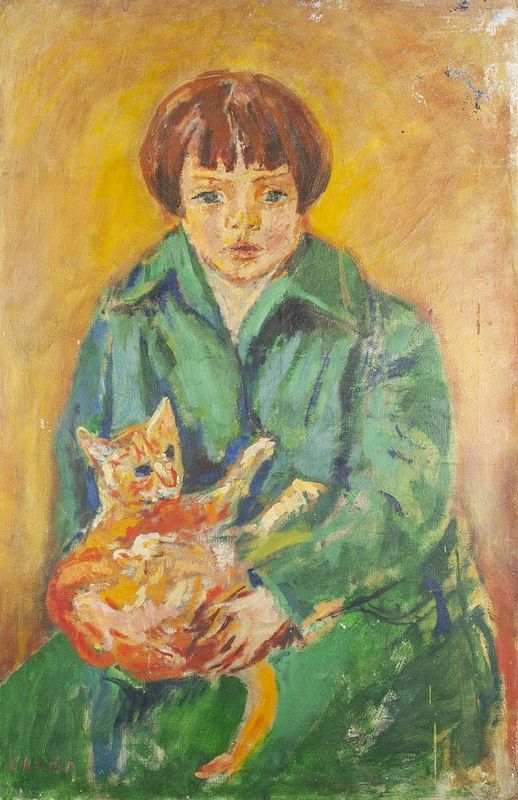 SIMON CLAUDE VANIER (1903-1958) Regina with a cat - Signed 'Vanier' (lower [...]
