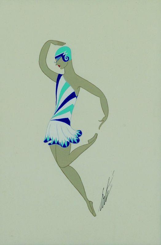 ERTE (1892-1990) Dance le train blue. 1930 - Pencil and tempera on paper Original [...]