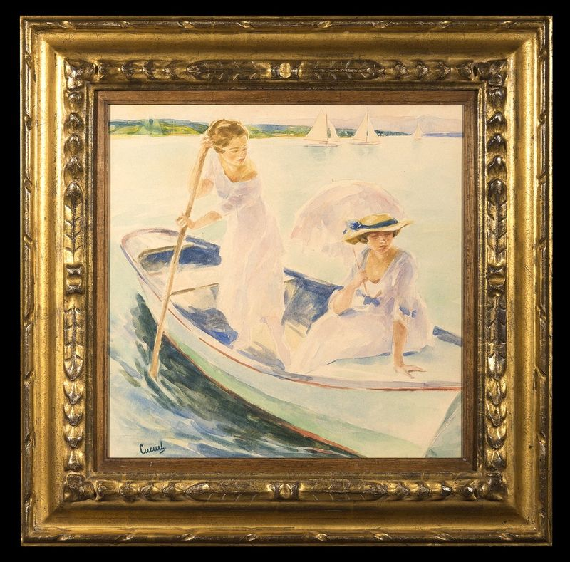 EDWARD CUCUEL (1879 – 1954) Boating on a Sunday Afternoon - Watercolour and [...] - Bild 2 aus 2
