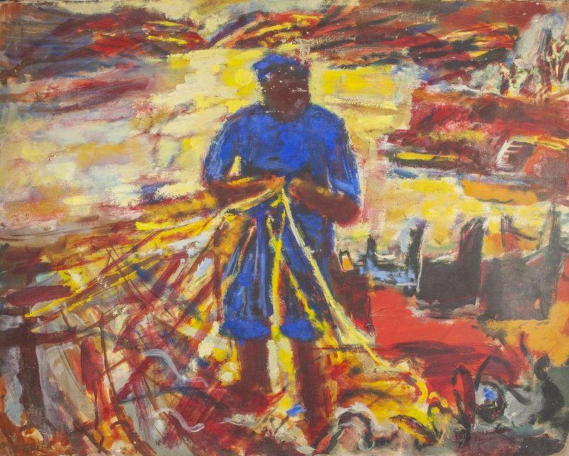 SIMON CLAUDE VANIER (1903-1958) Fisherman in Cadaques - Signed 'Vanier' (lower [...]