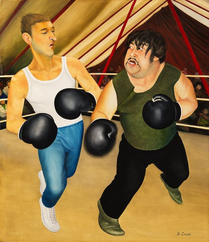 BERYL COOK OBE (1926-2008) Knockout - Oil on board Signed lower right 'B [...]