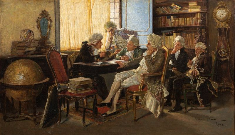 AUGUSTO DAINI (1860-1920) The Dilettanti Society in Rome, Italy - Signed [...]