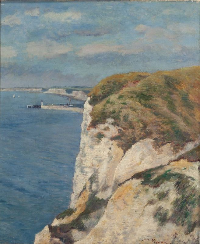 VICTOR VIGNON (1847 – 1909) Les Falaises - Signed 'Vr. Vignon' lower right [...]