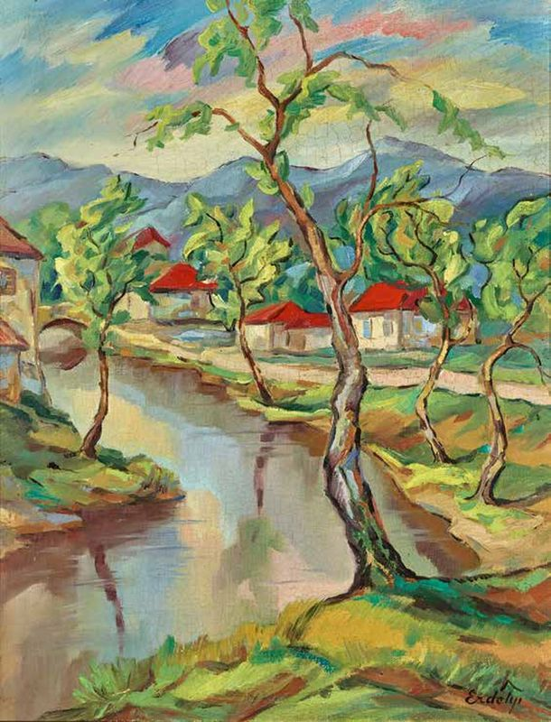 Bela ERDELYI (1891-1955) Landscape with red roofs - Signed Erdelyi (lower [...]