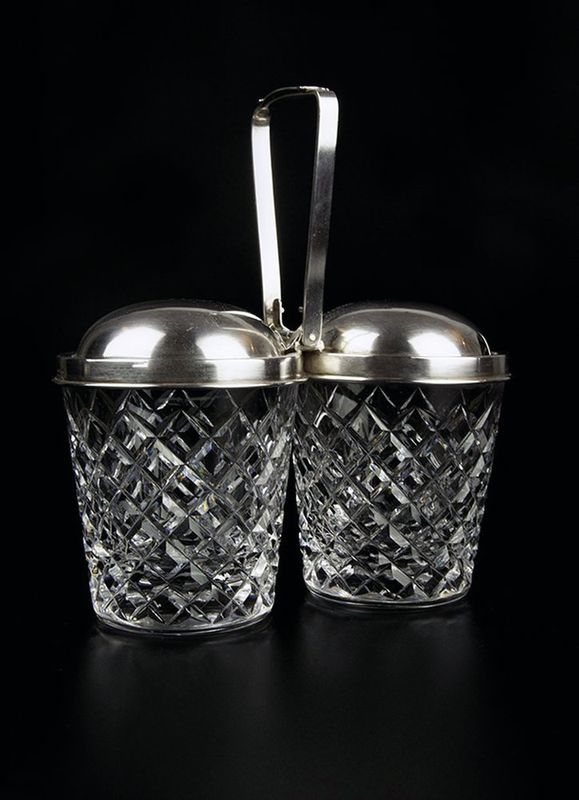 Double Jam / Condiment holder Signed Cartier - Crystal and silver Signed Cartier [...]