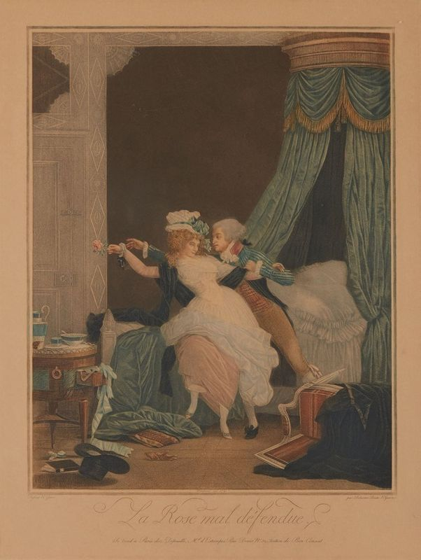 Philibert-Louis DEBUCOURT (1755- 1832) La Rose mal defendue, The Poorly Defended [...]