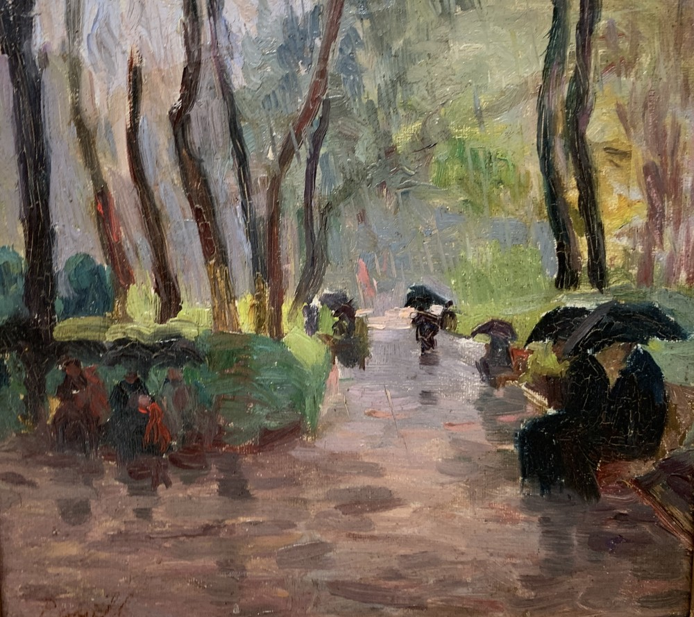Elie Anatole PAVIL (1873-1948) At the park in the rain - Signed (lower left) Oil [...]