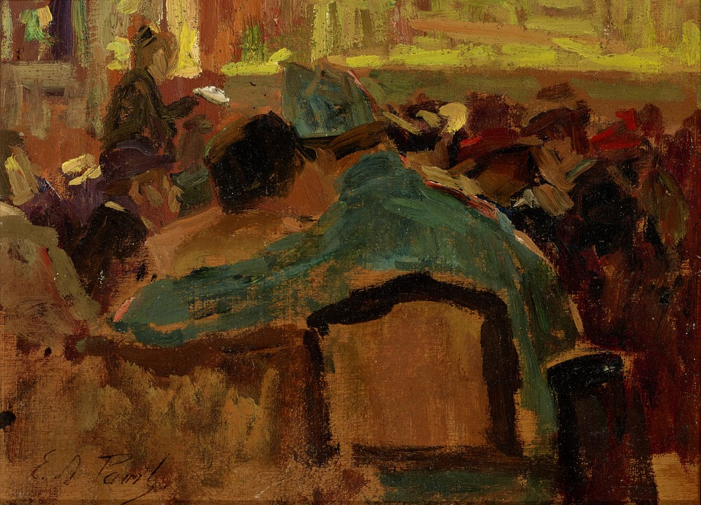 Elie Anatole PAVIL (1873-1948) At the cafe - Signed (lower left) Oil on panel 16 [...]