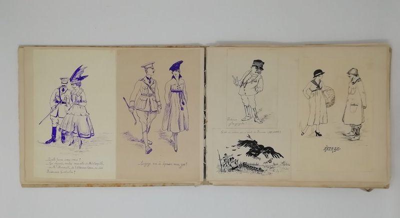 Album of 40 original Art Deco drawings and watercolours of charms, humorous [...] - Bild 2 aus 2