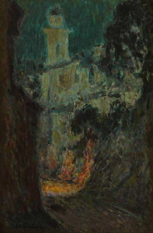 HENRI LE SIDANER (1862-1939) La rue au clair de lune, Villefranche-sur-Mer - [...]