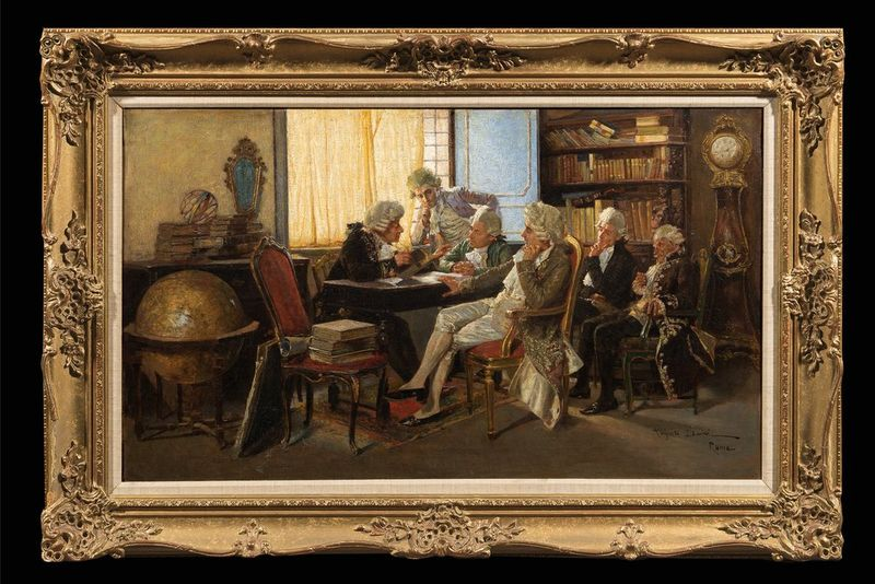 AUGUSTO DAINI (1860-1920) The Dilettanti Society in Rome, Italy - Signed [...] - Bild 2 aus 2